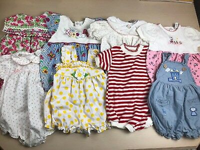 Lot Of 8 Vintage Baby Girl Rompers 6 9 12 Months Sunsuit