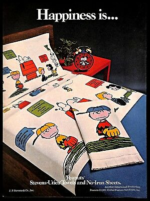 1971 Peanuts Comics Towels Bed Sheets Vintage PRINT AD Charlie Brown Snoopy