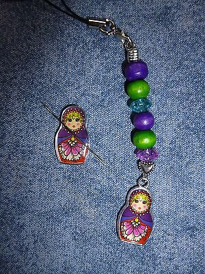 Russian Dolls Needle Minder Or Holder And Scissor Fob Set Cross Stitch