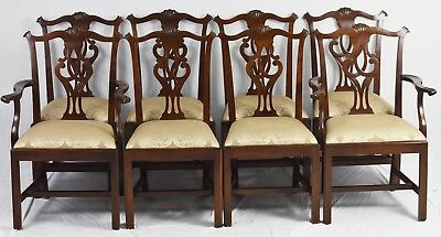 Set of 8 Stickley Mahogany Chippendale Dining Room Chairs Damask Fabric