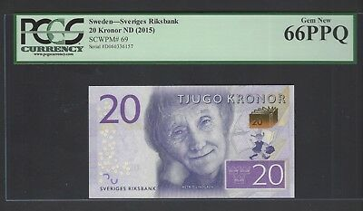 Sweden 20 Kronor ND(2015)  P69 Uncirculated Graded 66