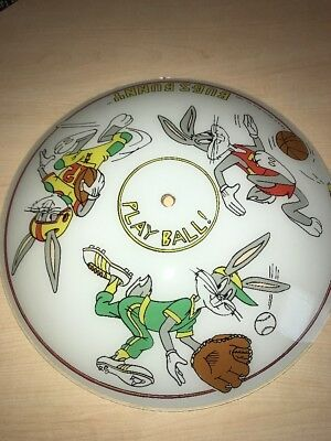Looney Tunes BUGS BUNNY Play Ball Ceiling Light Fixture Cover Frosted Glass 1986