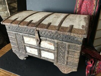 Antique Iron Bound Damchiya or Dowry Chest / Trunk  …beautiful ornate collection