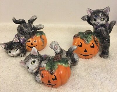 Fitz And Floyd Halloween Kitty Cat Tumblers Pumpkins In Box Set Of 3