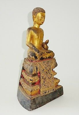18C Northern Thailand/ Laotian Gilt-wood seated Buddha Sculpture (Mil) M257