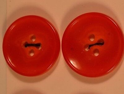 """12 RED CASEIN PLASTIC ORANGE BUTTON 7/8"""" OR 23 mm ON CARDS QUANTITY DISCOUNT"""