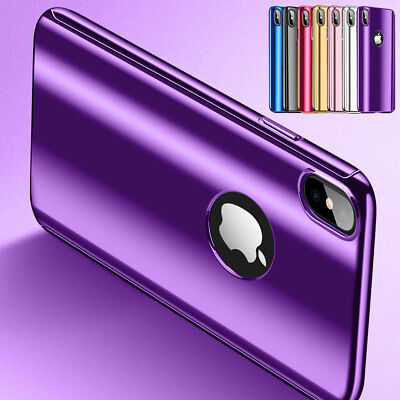 For iPhone X Electroplate Mirror Case Shockproof Protective Armor Hard Cover