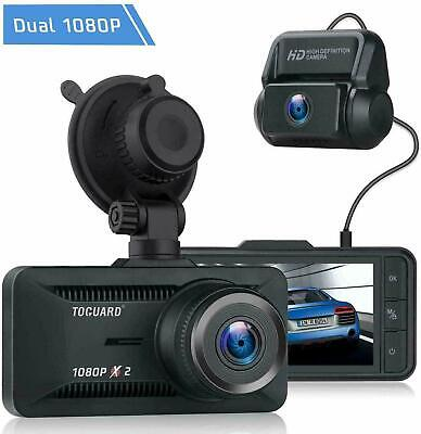 TOGUARD Uber Dual Dash Cam FHD 1080P+1080P Front and Rear View Car Camera 340°