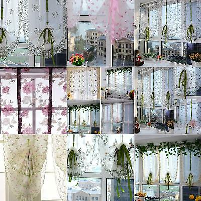 Roman Liftable Blinds Sheer Voile Kitchen Bathroom Balcony Window Curtain Cute