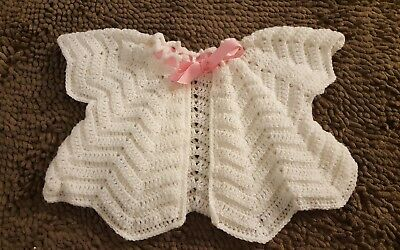 Handmade*White Vintage Toddler Baby Girl Sweater*Size 12-18mos*EVC