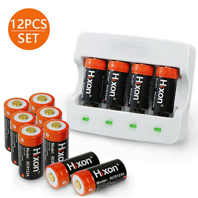 12 RCR123A Protected 700mAh 3.7V Rechargeable Arlo&Reolink Battery&Charger Hixon