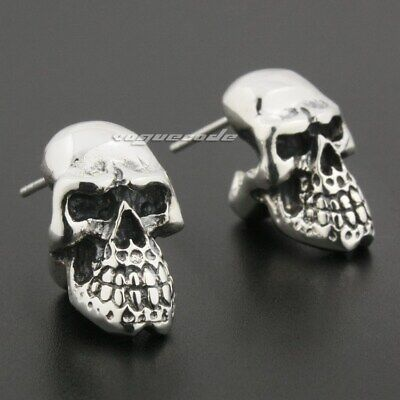925 Sterling Silver Huge Heavy Skull Mens Biker Punk Gothic Stud Earrings 8R020D