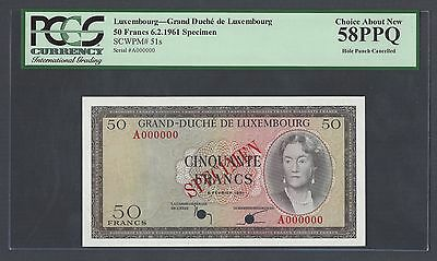 Luxembourg  50 Francs  6-2-1961 P51s  Specimen About Uncirculated