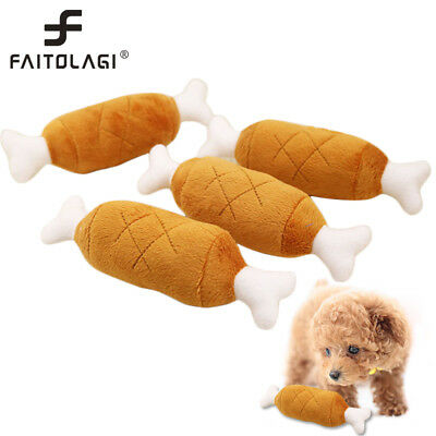 1pc Pet Dog Puppy Toys Chicken Leg Design Small Dogs Chew Squeak Plush Sound Toy