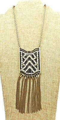 """A54) Black & White Seed Bead Woven Pendant in Brass Setting w/ 26"""" Chain"""