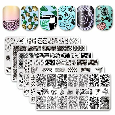Rectangle Nail Art Stamping Template Plates Tip Manicure BPL001-L057 BORN PRETTY