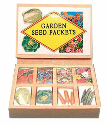 1:12 Scale Dolls House Garden Shop Greenhouse Accessory Seed Packets Display Box
