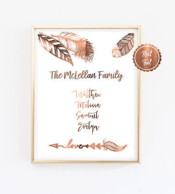 Family Print / Personalised copper foil families names poster / custom prints