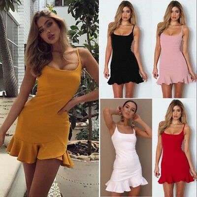 UK Women's Strappy Asymmetric Lace Square Neck Bodycon Short Mini Casaul Dresses
