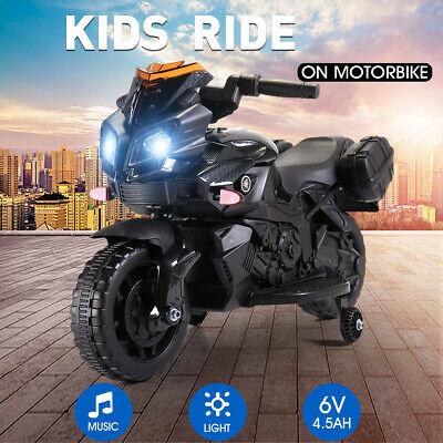 6V Kids Ride On Motorcycle  Battery Powered Electric Toy W/Training Wheels Black