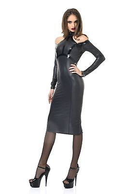 ♥ ROBE WETLOOK NOIR CRAYON DECOLLETE DOS ♦ CHIARA PATRICE CATANZARO ♦ 36 au 46 ♥