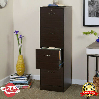 4 Drawer Vertical Wood Lockable Filing Cabinet Home Office Storage Furniture Us