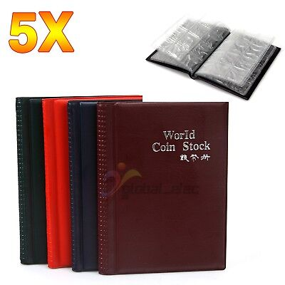 5x 120 Coin Holders Collecting Collection Storage Money Pockets Penny Album Book