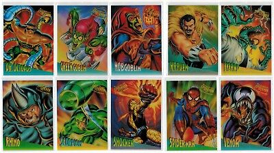 1995 Spider-Man Fleer Ultra Marvel Clearchrome Complete 10 Card Insert Chase Set