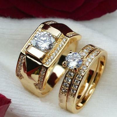 1PC 18K Gold Plated Stainless Steel Wedding Couple Ring Engagement Rings Set
