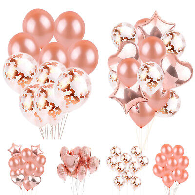 Rose Gold Series Foil Latex Balloons Set Helium Birthday Party Hen Wedding Decor