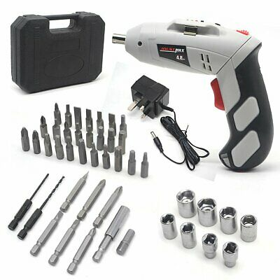 POWER RECHARGEABLE BATTERY CORDLESS SCREWDRIVER DRILL SET BITS Hex Sockets UK
