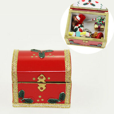 1:12 Miniature Wooden Xmas Gift Treasure Box Vintage Dollhouse Decoration Wide