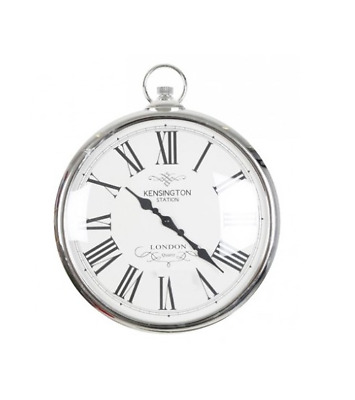 Silver Kensington Station Pocket Watch Style Wall Clock Classic Style 42cm
