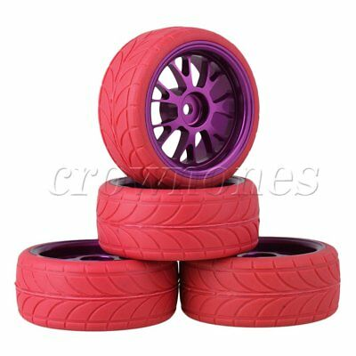 4pcs RC1:10 On Road Car Purple Alloy Y Shape Wheel Rims & Red Arrow Rubber Tyres