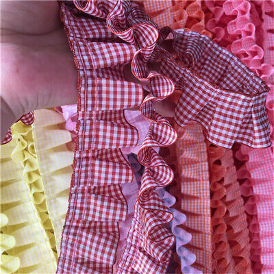 """2Yds Gathered Lace Edge Trims Pleated Plaid Ribbon Sewing 1.57"""" Width"""
