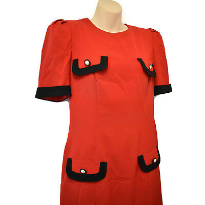 Vintage 1980s Stitches Black Red Career Dress Size Small