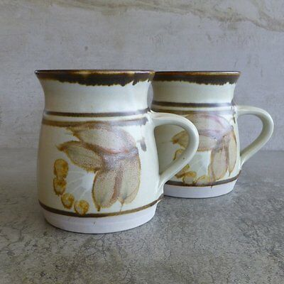2  Leonard Bell Pottery Coffee Mugs 320mls Australian Stoneware Cups Handcrafted