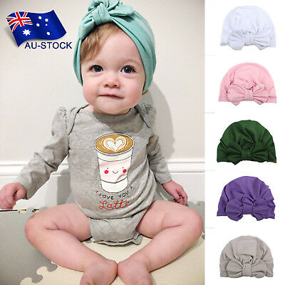 Baby Girl Hat Turban Knotted Bow Cap Hospital Hat Stretch Headwrap with Big Bow