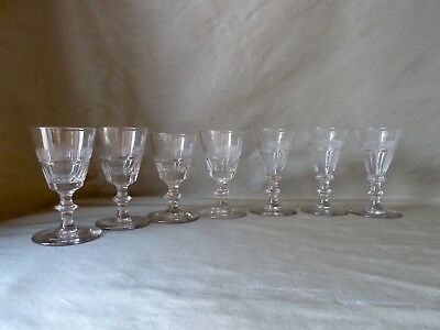 7 Antique Victorian Slice Cut Shot/Dram Glasses on Knopped Stem, Mixed Lot