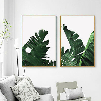 Nordic Green Leaves Canvas Wall Painting Picture Living Room Home Decor Faddish
