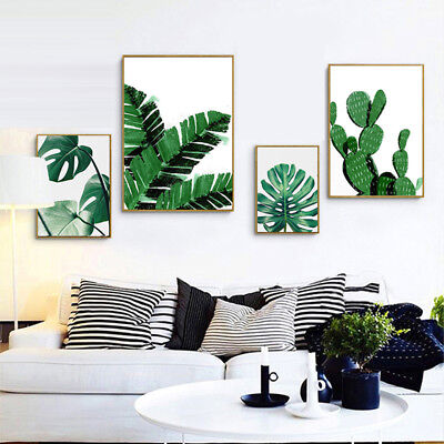Tropical Green Leaves Canvas Wall Painting Poster Picture Art Home Decor Faddish