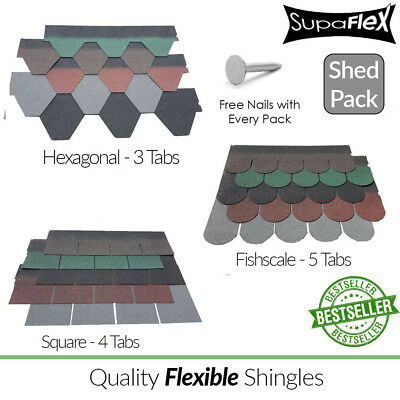 Roofing Felt Shingles | Shed Roof Felt Tiles | Shingle Shed Packs | 3 Shapes