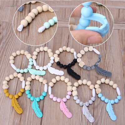 Baby Teether Ring Feather Beech Wood Teething Bracelet Infant Silicone Chew ToyS