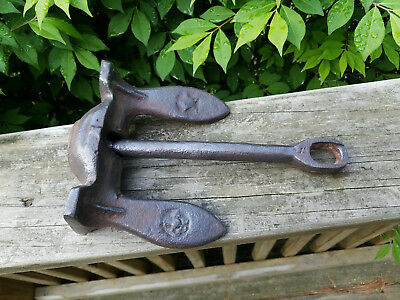 Vintage Navy Style Boat Anchor Maritime Naval Pivoting Iron 5lb NICE!