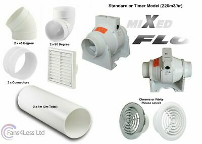 """Bathroom Shower Fan Kit Rigid Duct Ceiling Mounted Extractor Duct Timer Std 4"""""""