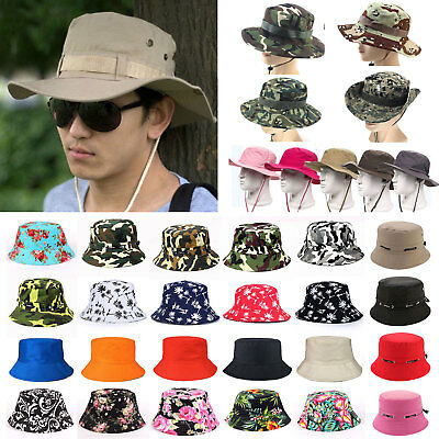 Mens Bucket Hat Boonie Hunting Fishing Cap Wide Brim Military Sun Camo Floral