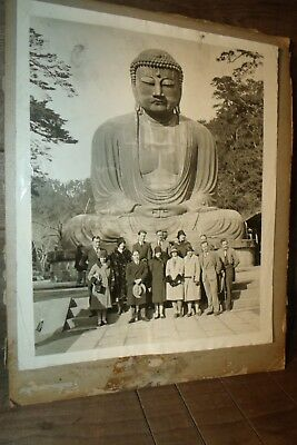 Rare Antique WWII PHOTO of HUGE BUDDAH with American Business men and women