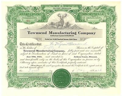 Townsend Manufacturing Company. Stock Certificate. Jackson County, Missouri