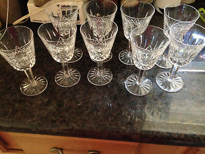 "WATERFORD CRYSTAL Lismore 5 7/8"" Claret Wine Glasses –Set of 9. New!"