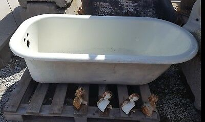 Antique Claw Foot Cast Iron Bath Tub, Salvaged, 5'